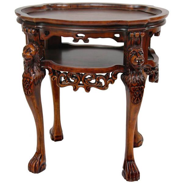 Handmade Wood 'Richard the Lionheart' End Table (China)