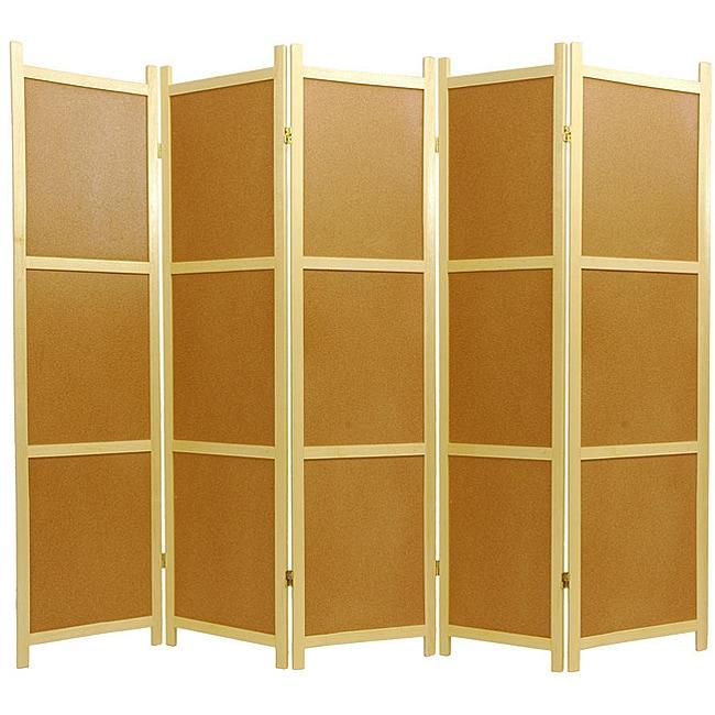 Handmade Cork Board 5-panel Room Divider (China)