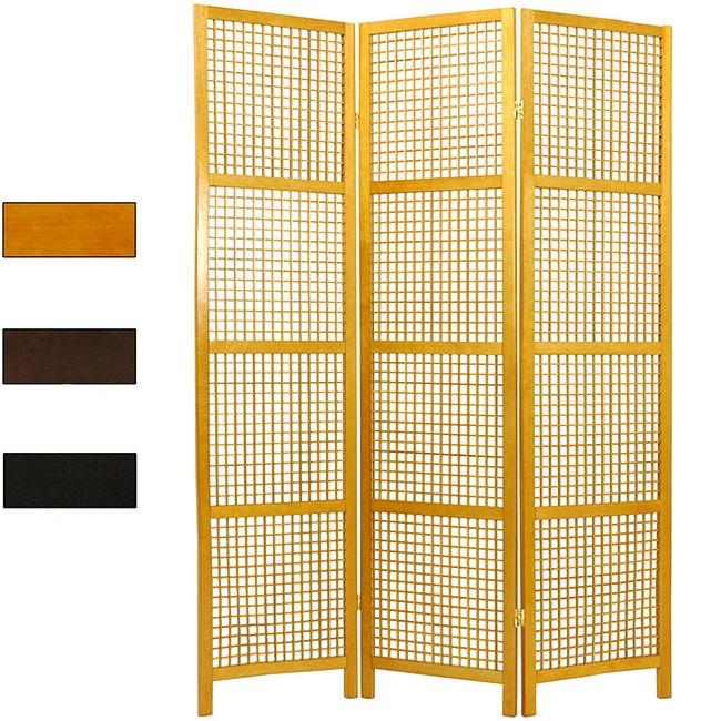 Handmade Miyagi Open Lattice 3-panel Room Divider (China)...