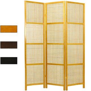 Handmade Miyagi Open Lattice 3-panel Room Divider (China)