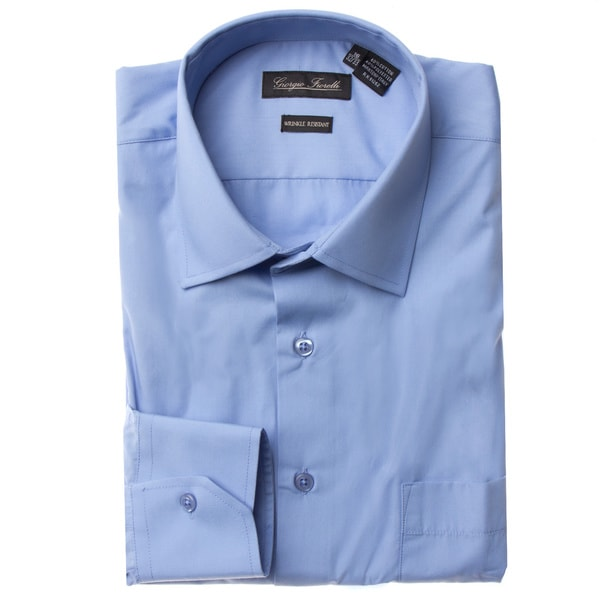 Mens Modern-Fit Dress Shirt Blue