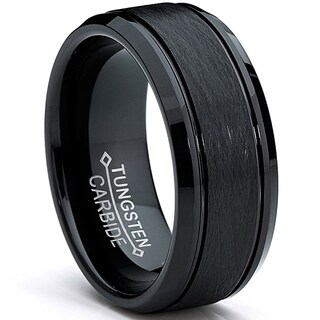 Oliveti Tungsten Carbide Men's Black Brushed Textured Center Ring (8 mm)