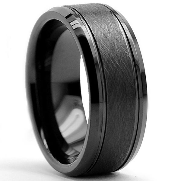 Tungsten Carbide Men's Black Brushed Textured Center Ring (8 mm)