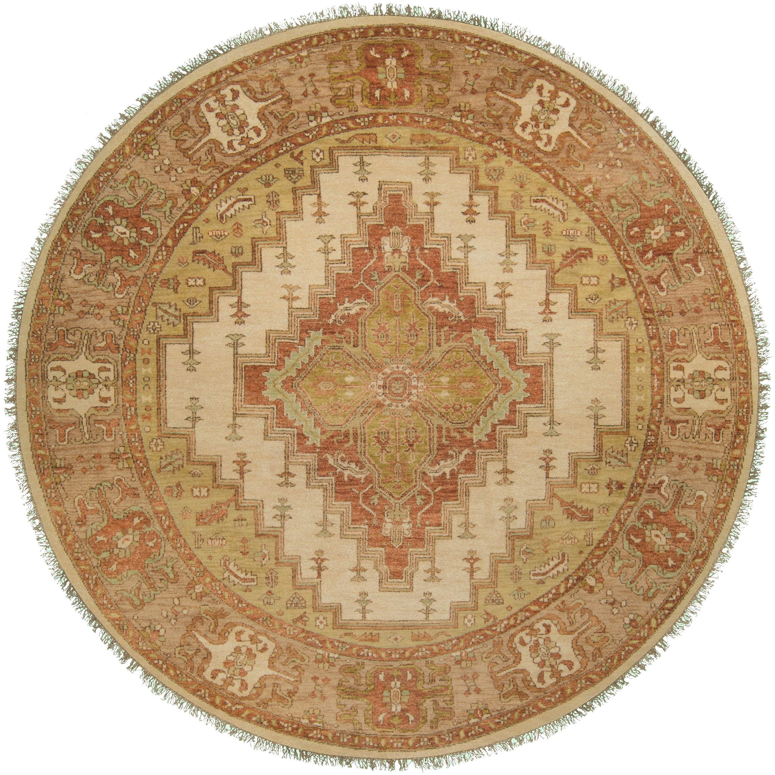 Hand-knotted Wool Cream Factre Rug (8' Round)