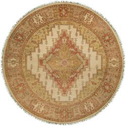 Hand-knotted Wool Cream Factre Area Rug (8' Round) - Thumbnail 0