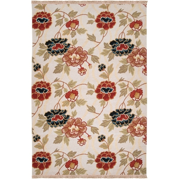 Hand Knotted New Zealand Wool Ivory Burg Area Rug - 9' x 12'
