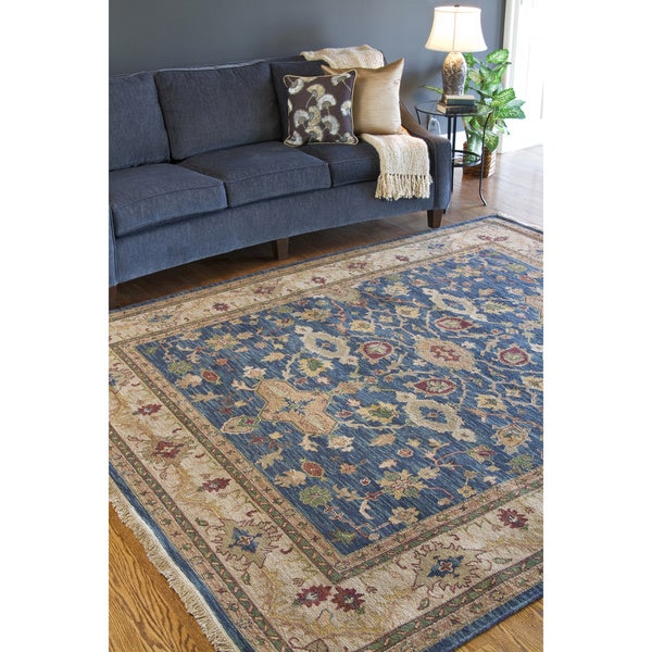 Hand Knotted Semi Worsted New Zealand Wool Blue Harris Rug