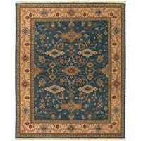 Hand Knotted Semi-Worsted New Zealand Wool Blue Harris Area Rug - 8' x 10'