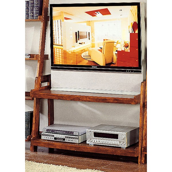 Shop Pecan Finish 2 Shelf Ladder Tv Stand Free Shipping Today