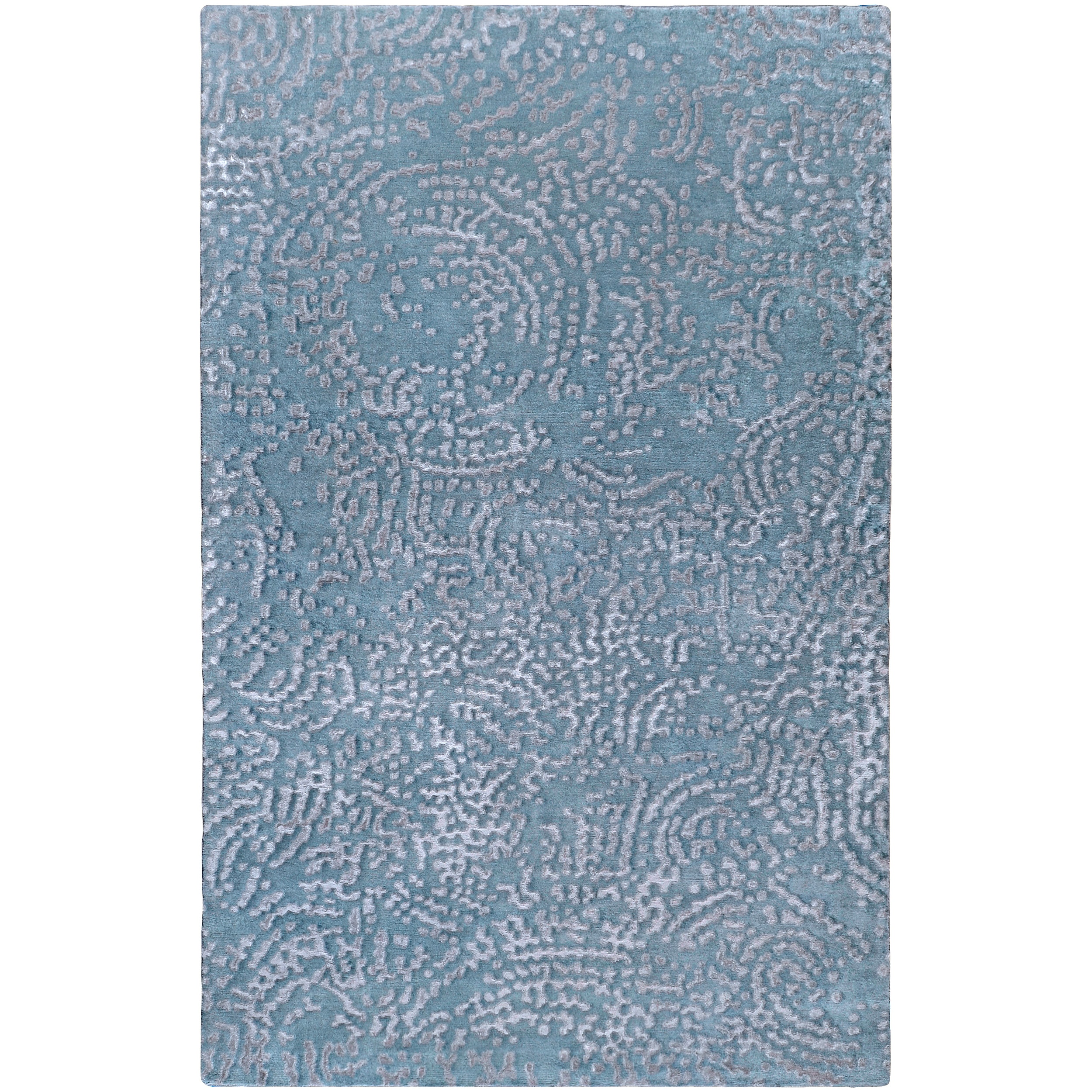 Hand Knotted Pale Blue Dale Abstract Design Wool Rug (4' x 6')