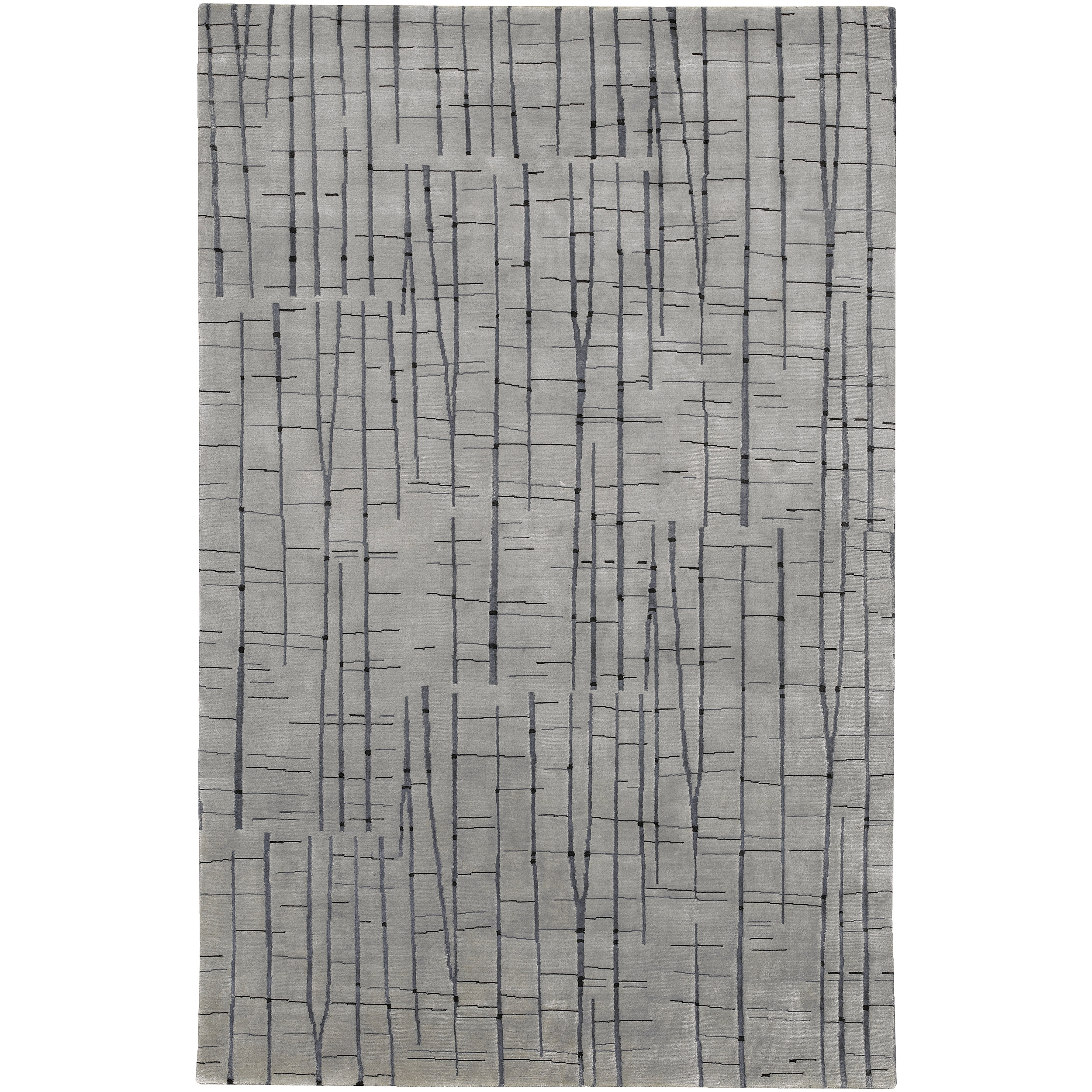 Hand Knotted Grey Baton Abstract Design Wool Area Rug