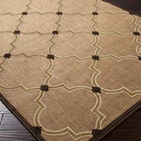 Woven Tan Bernardino Indoor/Outdoor Moroccan Lattice Area Rug - 5' x 7'6""