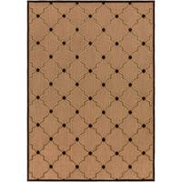 Woven Tan Bernardino Indoor/Outdoor Moroccan Lattice Area Rug - 7'10 x 10'8