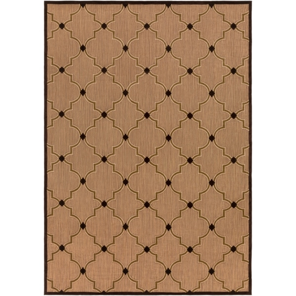 "Woven Tan Bernardino Indoor/Outdoor Moroccan Lattice Area Rug - 7'10"" x 10'8"""