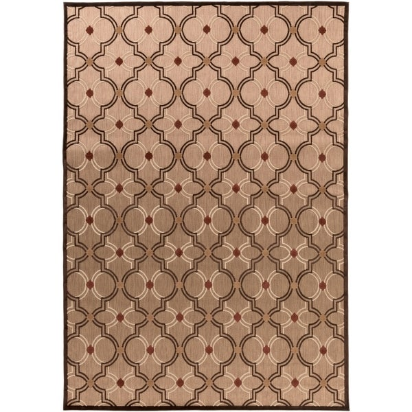Woven Brown Jackson Indoor/Outdoor Moroccan Lattice Area Rug - 7'10 x 10'8