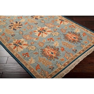 Hand Knotted New Zealand Wool Blue Saginaw Rug (6' x 9')