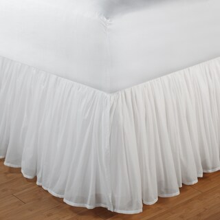 Greenland Home Fashions White Sheer 100-percent Cotton Voile 15-inch Drop Gathered Bedskirt (4 options available)