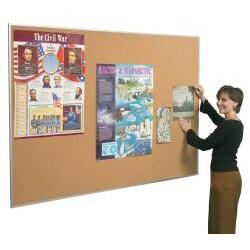 Best-Rite Valu-Tak 3 ft x 4 ft Aluminum Framed Natural Cork Tackboard - Thumbnail 1
