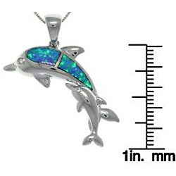 Carolina Glamour Collection Sterling Silver Created Opal Mother and Baby Dolphin Necklace