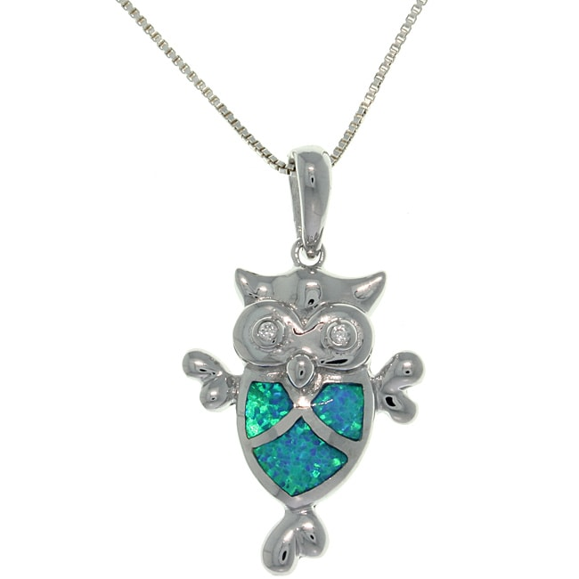 Carolina Glamour Collection Sterling Silver Created Opal and Cubic Zirconia Owl Necklace