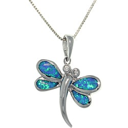 Carolina Glamour Collection Sterling Silver Created Opal and Cubic Zirconia Dragonfly Necklace