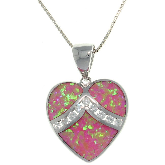 Carolina Glamour Collection Sterling Silver Created Pink Opal and Cubic Zirconia Heart Necklace