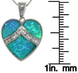 Carolina Glamour Collection Sterling Silver Created Opal and Cubic Zirconia Heart Necklace