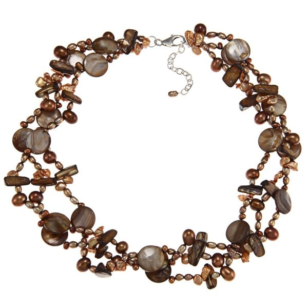 Dyed Freshwater Pearl and Shell 3 strand Necklace (3-8 mm)