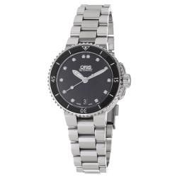 Oris Women's 'Aquis' Stainless Steel Black Diamond Dial Watch
