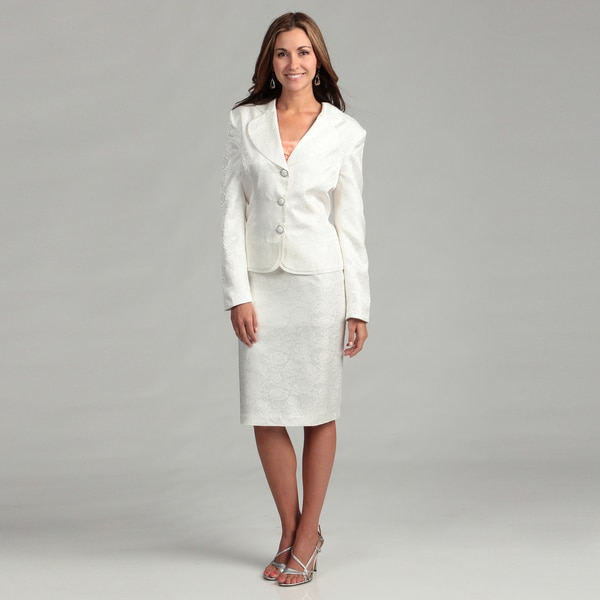 Danillo Women's Off-white Peplum Skirt Suit