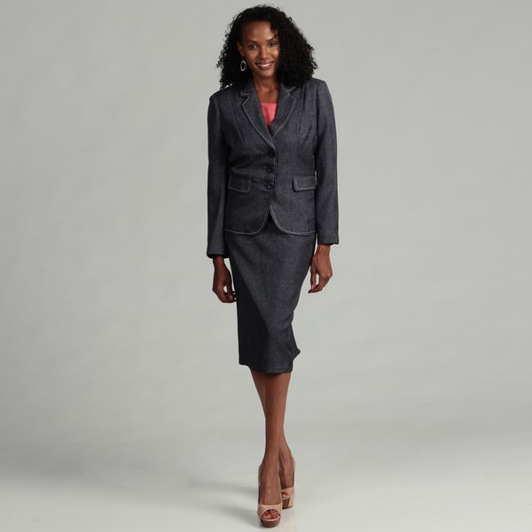 Danillo Women's Navy Faux Denim Skirt Suit