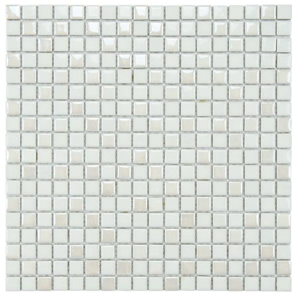 SomerTile 11.75x11.75-inch Posh Pixie White Porcelain Mosaic Tiles (Set of 10)