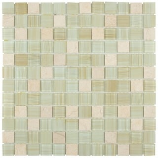 SomerTile 11.5x11.5-inch Chroma Square Macadamia Glass and Stone Mosaic Wall Tile (Case of 10)