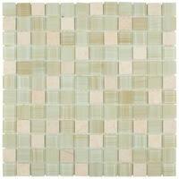 SomerTile 11.75x11.75-inch Chroma Square Macadamia Glass and Stone Mosaic Wall Tile (10 tiles/9.79 sqft.)