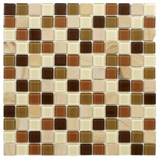 SomerTile 11.75x11.75-inch Chroma Square Kalamata Glass and Stone Mosaic Wall Tile (10 tiles/9.79 sqft.)