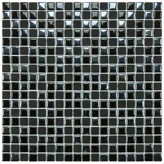 SomerTile 11.75x11.75-inch Posh Pixie Black Porcelain Mosaic Tiles (Set of 10)