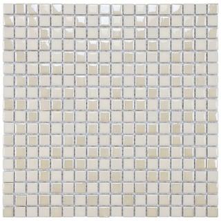 SomerTile 11.75x11.75-inch Posh Pixie Almond Porcelain Mosaic Tiles (Set of 10)