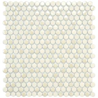 SomerTile 11.25x12-inch Posh Penny Round Almond Porcelain Mosaic Tiles (Set of 10)