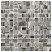 SomerTile 11.75x11.75-inch Chroma Square Licorice Glass and Stone Mosaic Wall Tile (10 tiles/9.79 sqft.)