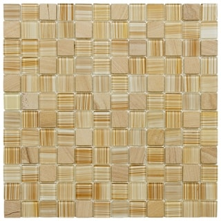 SomerTile 11.5x11.5-inch Chroma Square Butterscotch Glass and Stone Mosaic Tiles (Set of 10)