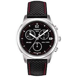 Tissot Men's T0494171605700 PR100 Round Black Leather Strap Watch