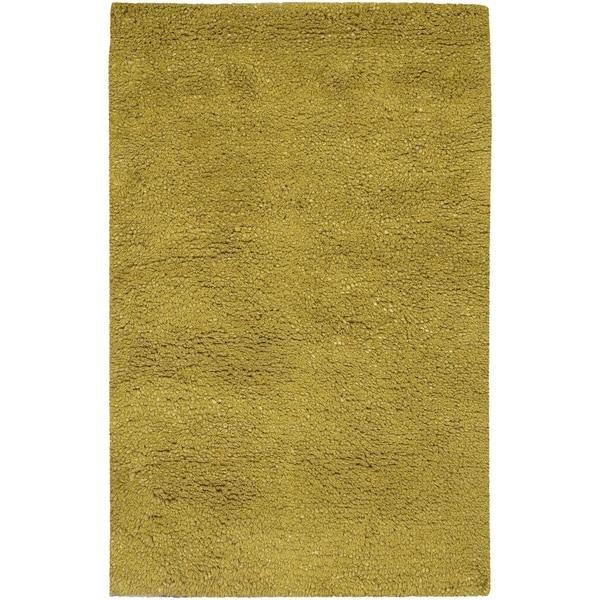 Hand-woven Lime MetropoliGreen New Zealand Wool Plush Shag Area Rug - 9' x 13'