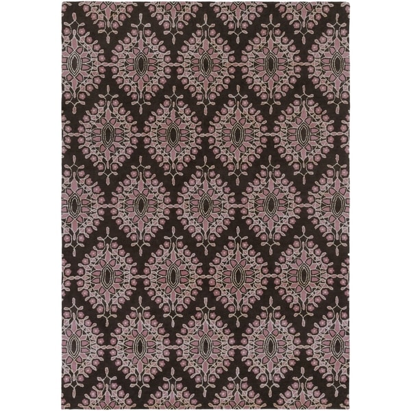 Hand-tufted Contemporary Grey Mazda New Zealand Wool Medallion Area Rug - 8' x 11'