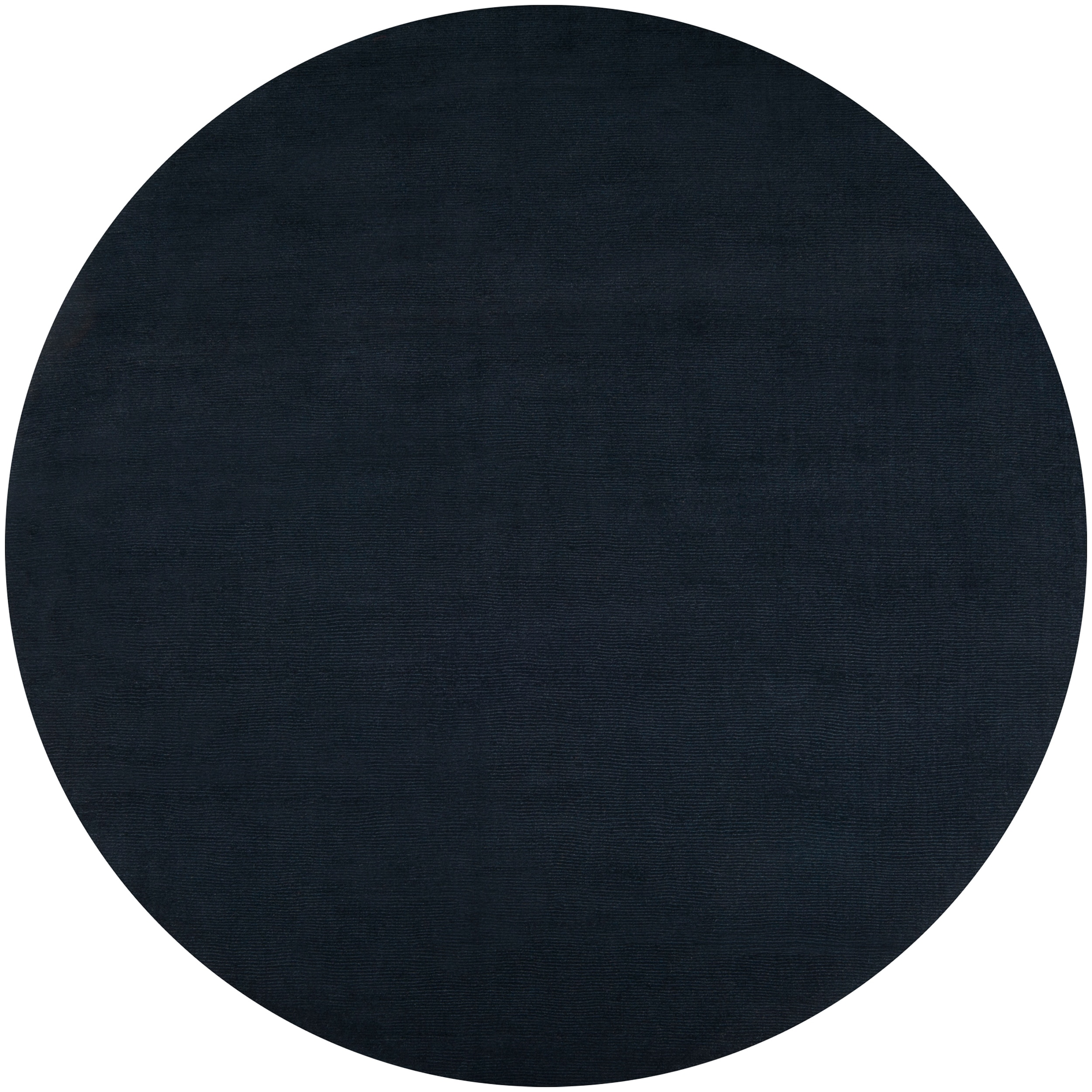 Hand-crafted Navy Blue Solid Causal Vaux Wool Rug (8' Round)