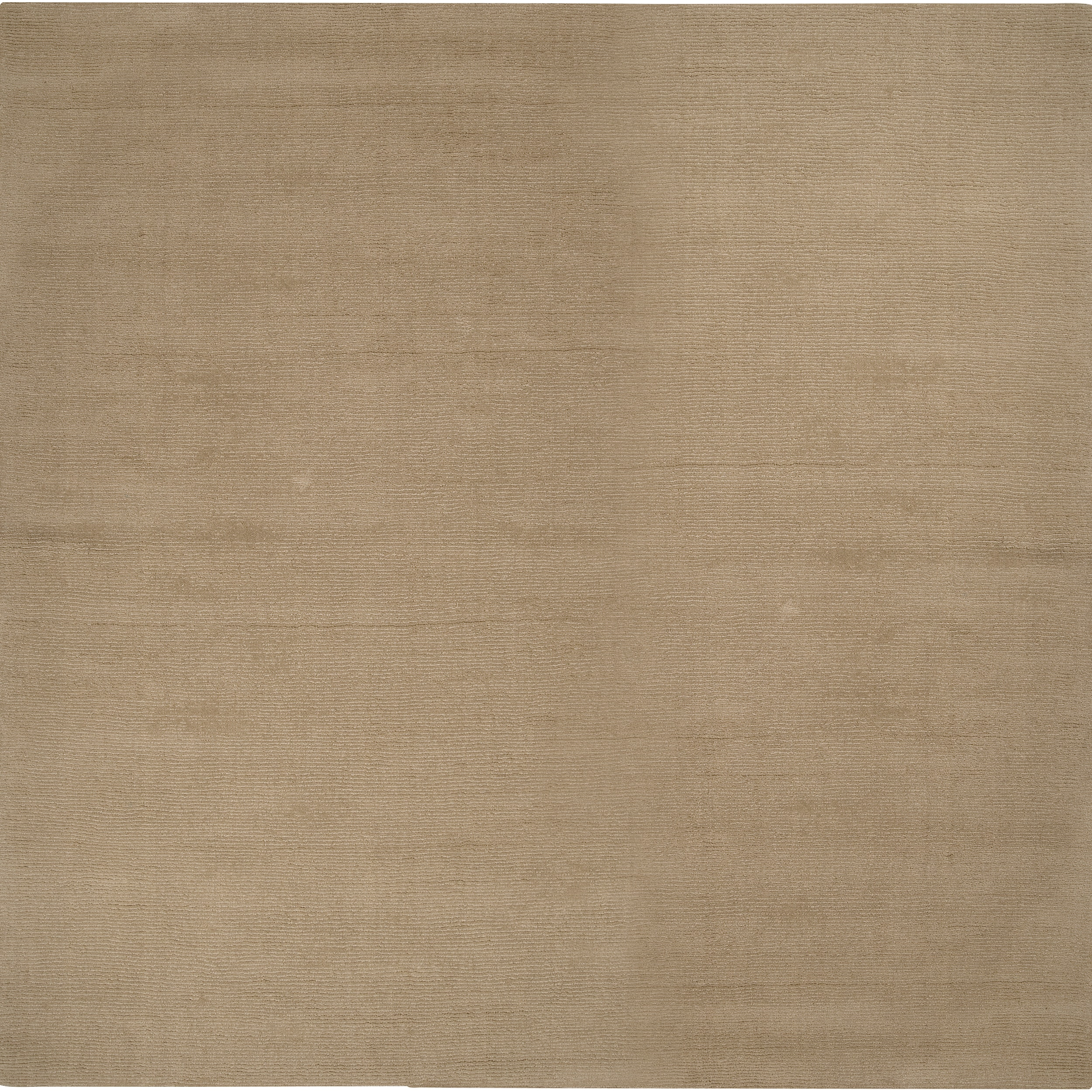 Hand-crafted Beige Solid Casual Buick Wool Rug (8' Square)