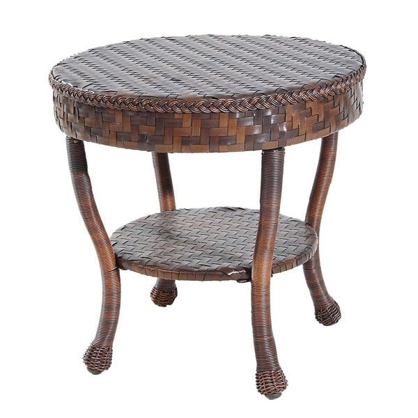 outdoor wicker patio round end table free shipping today overstock