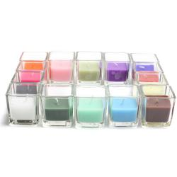 Square Glass Votive Candles (Pack of 12)