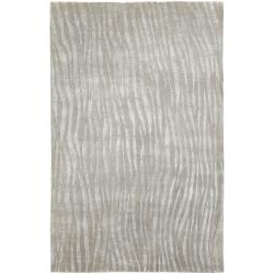 Hand Knotted Grey Abstract Plush Wool Cortina Rug (2' x 3')