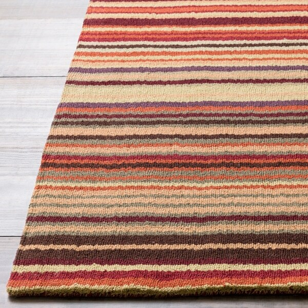 Hand-crafted Red Striped Casual Wool Cruiser Area Rug - 9' x 13'