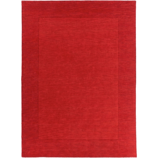 Hand-crafted Solid Red Tone-On-tone Bordered Focus Wool Area Rug - 8' x 11'